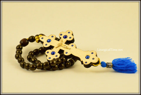 Prayer Rope ~ Wooden Cross With Prayer Beads ~ Many Colors Available ~ From Ukraine - PR2