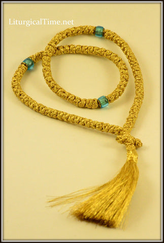 Orthodox Prayer Rope ~ 100 Knot Flush Gold Prayer Rope ~ From Greece - PR3g