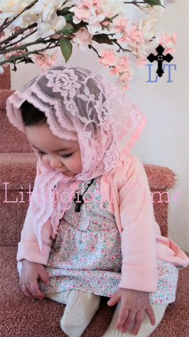 Baby's Chapel Veil | Pink Lace | BY1 by Liturgical Time