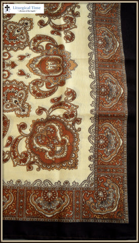 Russian Kerchief- BBK8- Natural Tones with Dark Brown on Beige