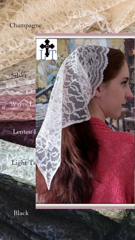 Triangle Shaped Mantilla LM7 -- Mid Length Lace Mantilla Chapel Veil Headcovering Church Veil