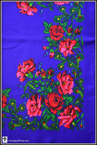 Russian scarf - vintage imported from Ukraine - Bright Floral on Deep Blue