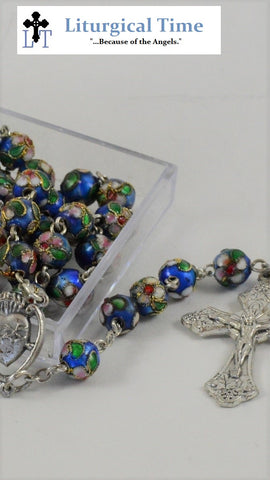 FLASH SALE ! ~ Rosary ~ Blue Cloisonne Bead Rosary ~RSY6