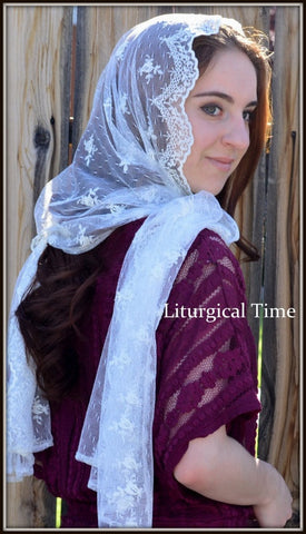 Catholic Chapel Veil, Orthodox Headcovering- RCVM5 - Large Rectangular Head Covering in Embroidered Lace