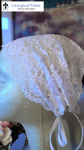 White Stretch Lace Covering with Ties~ RB