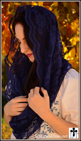 Infinity Veil Chapel Veil Mantilla - EV1I -  Eternity Veil Headcovering - The Infinity Scarf Mantilla Veil Original,  in Ink Blue