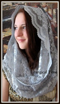 Chapel Veil  - Eternity Veil Headcovering - The Infinity Scarf Mantilla Veil Original, in Pewter - EV1P