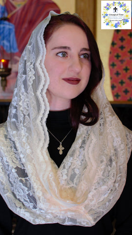 Catholic Chapel Veil ~ EV1VB - Eternity Veil Headcovering - The Infinity Chapel Veil Original, , in Vanilla Bean