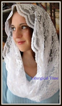 Chapel Veils - Eternity Veil Headcovering, in White - The Infinity Scarf Mantilla Veil Original -EV1W