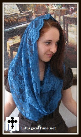 Head Covering EV1PB - Eternity Veil Headcovering - The Infinity Scarf Mantilla Veil Original, in Pacific Blue