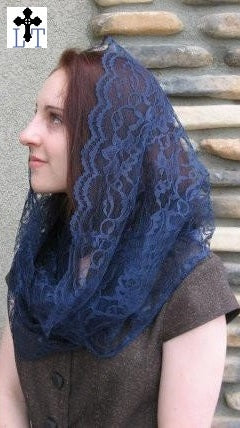 Women Head Coverings - EV2MB -Eternity Veil Headcovering - The Infinity Scarf Mantilla Veil Original, in Midnight Blue