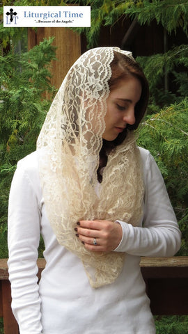 Infinity Veil EV2pc -- Eternity Veil Headcovering - The Infinity Chapel Veil Original, in Peach Cream