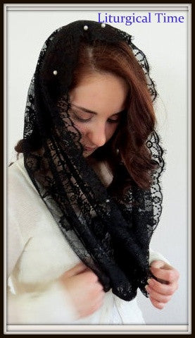 Infinity Veil EVM17 - Eternity Veil Headcovering - The Infinity Scarf Mantilla Veil Original, in Black with Genuine Freshwater Pearls