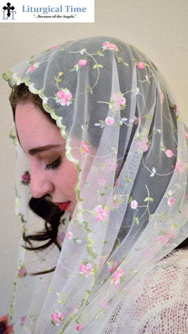 Sale! ~ Catholic Chapel Veils EVM34 - Infinity Veil - Mantilla, in Embroidered Rosebuds on Soft Net