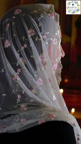 Catholic Chapel Veils EVM34 - Infinity Veil - Mantilla, in Embroidered Rosebuds on Soft Net