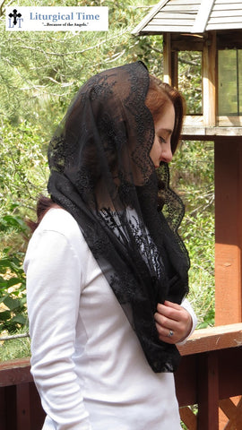 Catholic Veil Christian Headcovering - EVM38b - The Infinity Scarf Mantilla Veil Original, in Embroidered Black Lace