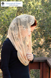 Catholic Veil Christian Headcovering - EVM38 - The Infinity Scarf Mantilla Veil Original, in Embroidered Gold Lace