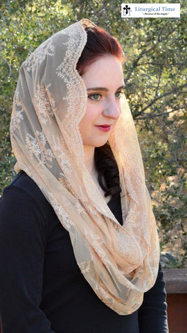 Catholic Veil Christian Headcovering - Gold Infinity Veil