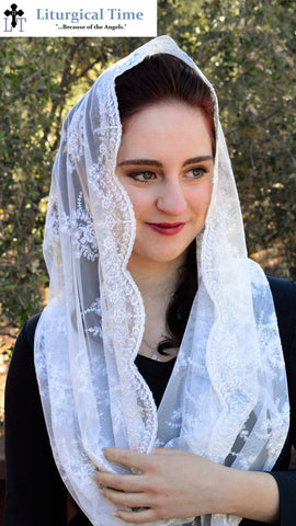 Catholic Veil Christian Headcovering - EVM38w - The Infinity Scarf Mantilla Veil Original, in Embroidered White Lace