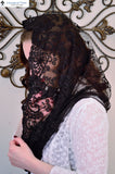 Chapel Veil EVM39 - Eternity Veil Headcovering - The Infinity Scarf Mantilla Veil Original, in Embroidered Black Lace
