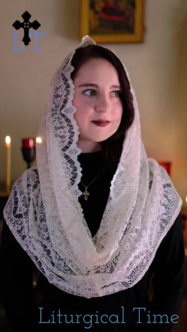 Chapel Veil | Head Covering in Soft Ivory Lace | Eternity veil | EVM42 by Liturgical Time