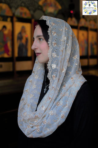 Mantilla | Catholic Chapel Veil | Headcovering for Latin Mass, Church, Prayer, or Shabbat, Beige Latte Lace from Liturgical Time EVM43