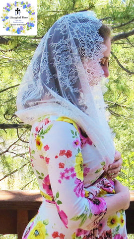 Catholic Chapel Veils EVM45 - Infinity Veil - Mantilla, in Very Fine Ivory Cream Lace, Includes Sewn-In Comb Free of Charge