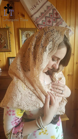Mantilla | Headcovering | Catholic Veil - Beige, Lace Infinity Headscarf for Latin Mass, Church, Shabbat from Liturgical Time ~ EVM5B