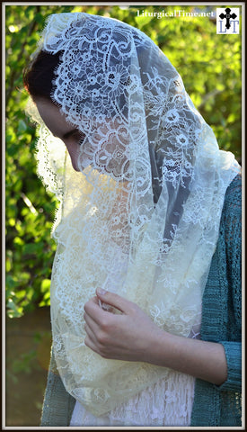 Lace Infinity Veil ~  FLV3 - Catholic Mantilla, in Cream