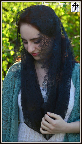 French Lace Catholic Veil ~  FLV4 - Catholic Mantilla, in Black