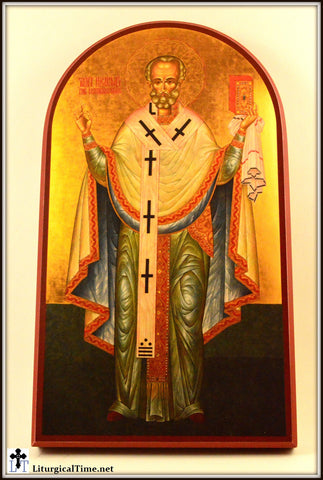 Icon ~ St. Nicholas (Isham)~ Icon Print Mounted on Wood - ICN17
