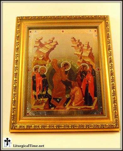 Icons ~ Resurrection of Christ ~ Harrowing of Hell Icon Gold Framed, with Glass and Crystals - ICN18