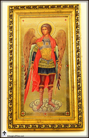 "St Michael Framed w/Crystals and Glass 11 1/2""x7 1/2 - ICN1"