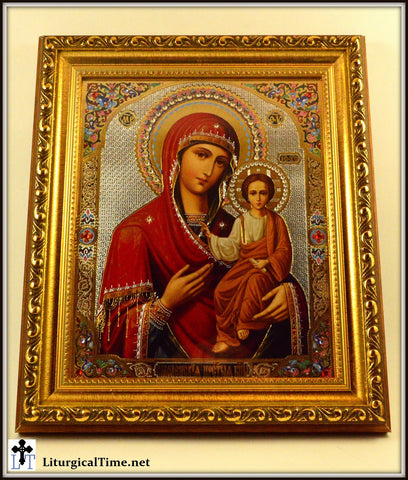 Virgin of Smolensk Gold Framed with Crystals and Glass  - ICN3