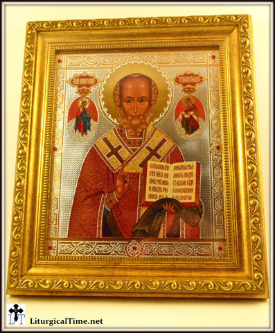Icons ~ Saint St Nicholas Icon Gold Framed, with Glass and Crystals - ICN8