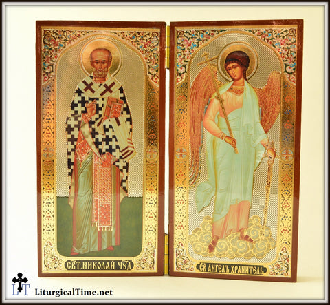 St. Nicholas & Guardian Angel Diptych / desk icons / table sized icons - ICNS4