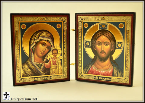 Orthodox Icons ~ Virgin of Kazan and Christ The Teacher Diptych / desk icons / table sized icons - ICNS5