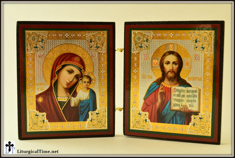 Small Icons ~ Virgin of Kazan and Christ The Teacher Diptych / desk icons / table sized icons - ICNS6