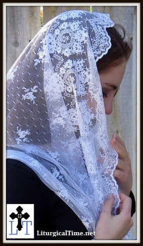 Infinity Veil EVM14w - Eternity Veil Headcovering - The Infinity Scarf Mantilla Veil Original, in Embroidered White Lace