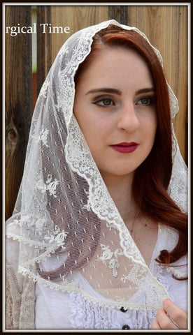 Catholic Chapel Veils LM14 -- Sheer Ivory Mantilla Chapel Veil Headcovering in Embroidered Lace on Point d'Esprit