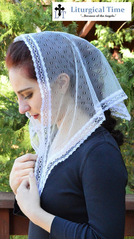 Catholic Chapel Veil LM19 - Ivory Mantilla Chapel Veil Headcovering in unique Point d'Esprit with tiny flowers.Triangle shaped.