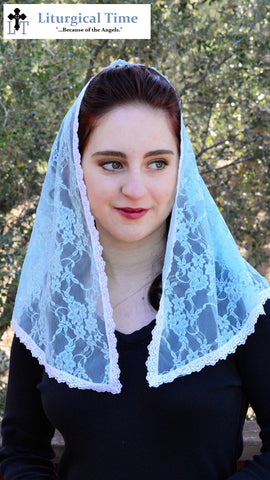 Lace Mantilla -- Soft D-shaped chapel veil headcovering in Seafoam lace.Drapes beautifully