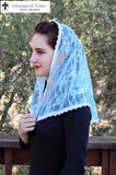 Lace Mantilla LM20 - Chapel Veil Church Headcovering in Soft Seafoam Lace with Ivory Trim