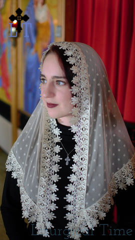 Chapel Veil | Catholic Mantilla | Sheer Dot in Soft Champagne Net