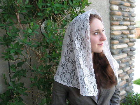 Church Headcovering - Lace Mantilla Chapel Veil, in Pink -  D Shaped - LM3