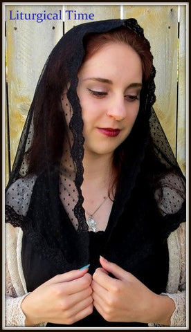 Mantilla Chapel Veil | Sheer Dot Soft Black Net with Scallop Trim | LM9