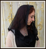 Mantilla Chapel Veil - Sheer Dot in Soft Black Net  - LM9