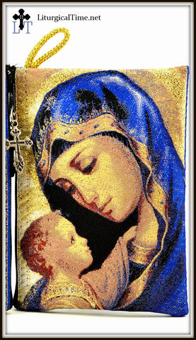 Rosary Case / Prayer Rope Pouch with Madonna & Child Image  - PCH4