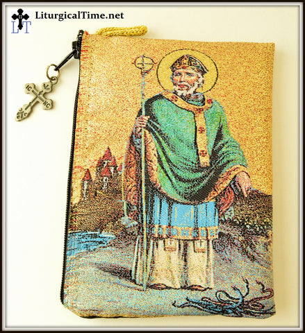 Rosary Case / Prayer Rope Pouch with Saint Patrick  - PCH5