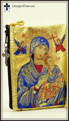Rosary Case / Prayer Rope Pouch with Christ & Theotokos Images  - PCH7